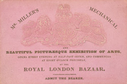 Ticket for Mr Miller's Mechanical Exhibition